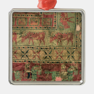 Pile carpet depicting horses and riders christmas ornament