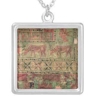 Pile carpet depicting horses and riders silver plated necklace