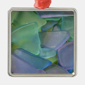 Pile of blue beach glass, Alaska Silver-Colored Square Decoration