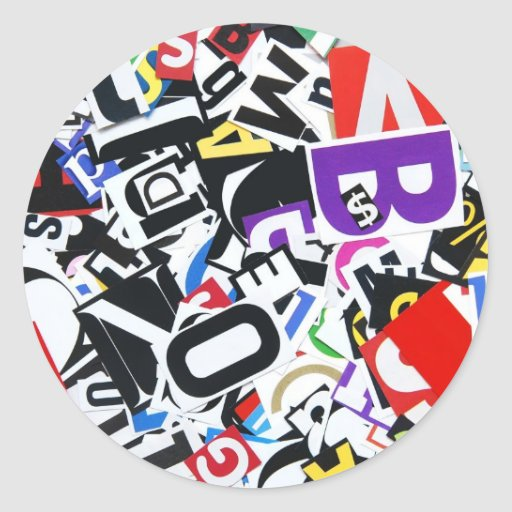Pile of Colorful Cutout Letters Sticker