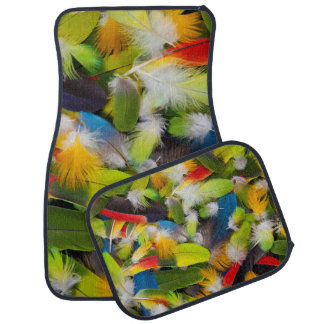 Pile of colorful feathers car mat