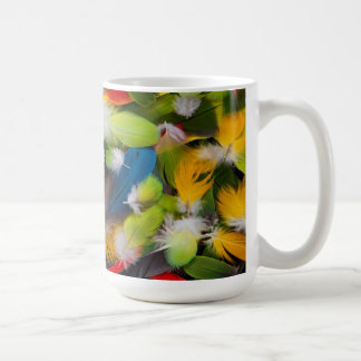 Pile of colorful feathers coffee mug