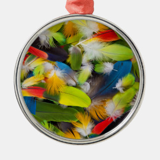 Pile of colorful feathers Silver-Colored round decoration