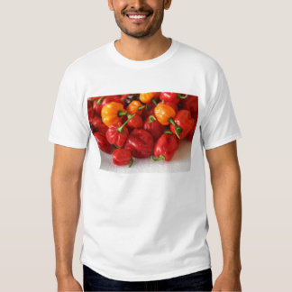 pile of habanero hot peppers top tshirt