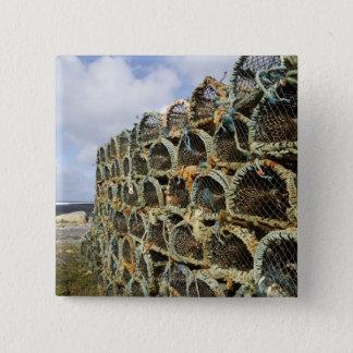 pile of lobster crab pots on Irish shoreline 15 Cm Square Badge