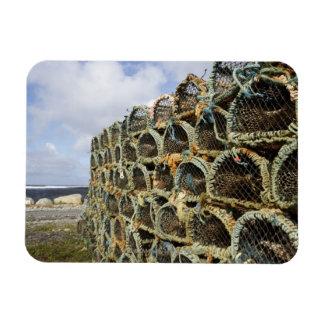 pile of lobster crab pots on Irish shoreline Rectangular Photo Magnet
