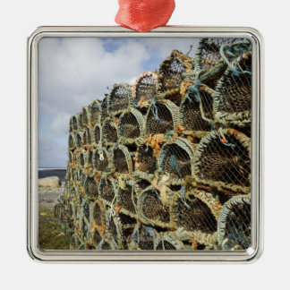 pile of lobster crab pots on Irish shoreline Silver-Colored Square Decoration