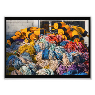 Pile of lobster fishing gear on dock in Maine. Art Photo