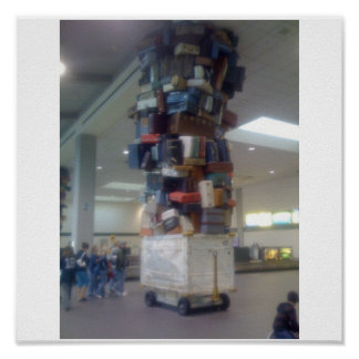 Pile of Luggage At Sacramento Airport California Poster