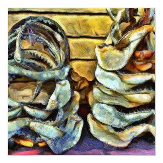 Pile of marine jaws 13 cm x 13 cm square invitation card