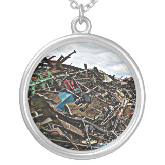 Pile of Metal Junk for Recycling Round Pendant Necklace