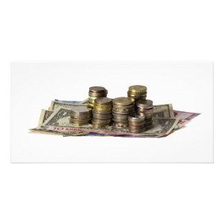 Pile of money custom photo card