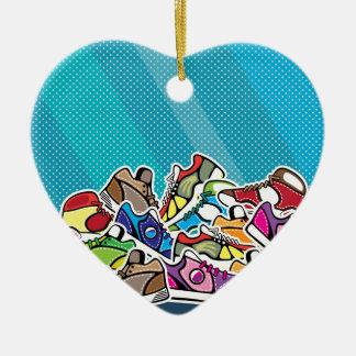 Pile of shoes vector pop art ceramic heart decoration