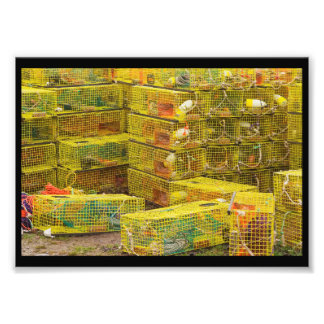 Pile of Yellow Lobster Traps In Maine Art Photo