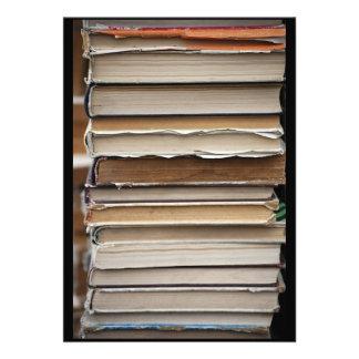 PILE OLD BOOKS DIGITAL PHOTOGRAPHY GRAPHICS STUDY CUSTOM INVITATIONS