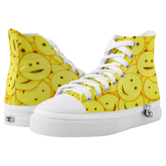 Piles of Cute Yellow Smiley Faces High Tops