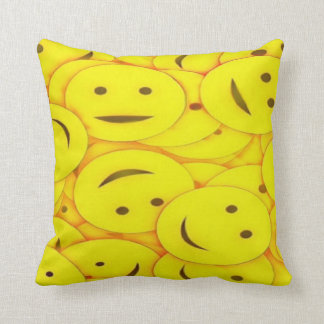 Piles of Cute Yellow Smiley Faces Throw Pillow