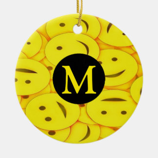 Piles of Yellow Cute Smiley Happy Faces Monogram Round Ceramic Decoration