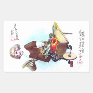 Pilgrim Boy and Wheelbarrow of Fruits and Veggies Rectangular Sticker