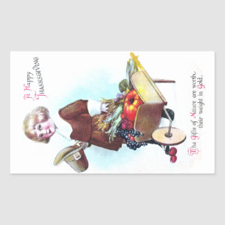 Pilgrim Boy and Wheelbarrow of Fruits and Veggies Rectangle Stickers