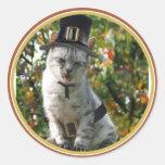 Pilgrim Cat Round Stickers