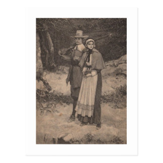 Pilgrim couple postcard