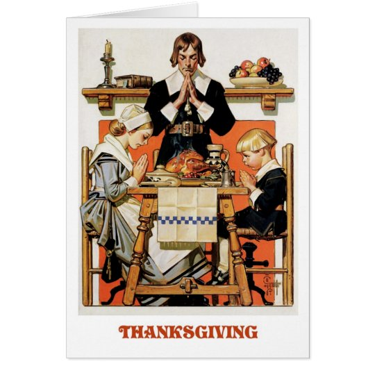 Pilgrim Family. Thanksgiving Greeting Cards
