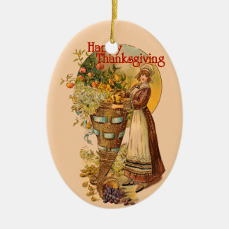 Pilgrim Girl with Victorian Style Christmas Ornament