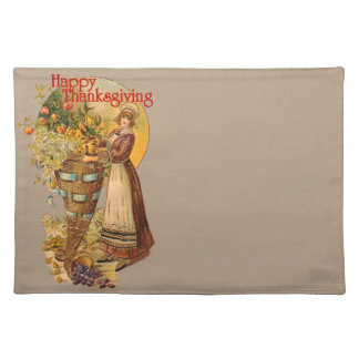 Pilgrim Girl with Victorian Style Thanksgiving Placemat