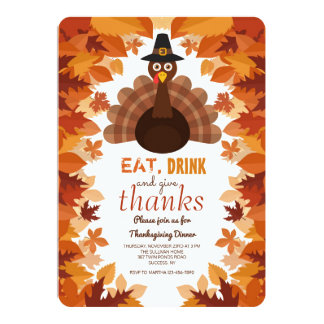 Pilgrim Hat Thanksgiving Dinner Invitation