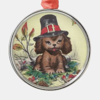 Pilgrim Puppy Thanksgiving Christmas Ornament