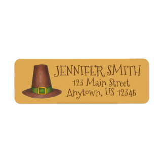 Pilgrim Puritan Hat Happy Thanksgiving Autumn Fall Return Address Label