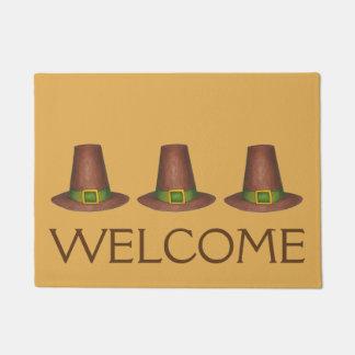 Pilgrim Puritan Hat Thanksgiving Autumn WELCOME Doormat