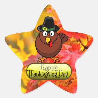 Pilgrim Turkey - Happy Thanksgiving Day Star Sticker