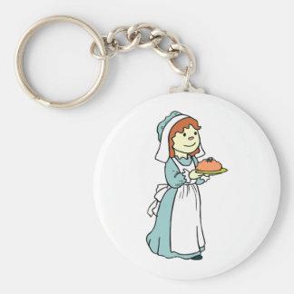 Pilgrim Woman Thanksgiving Dinner Basic Round Button Key Ring