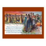 Pilgrims and Pumpkins Vintage Thanksgiving Postcard