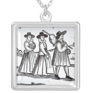 Pilgrims departing for the New World Silver Plated Necklace