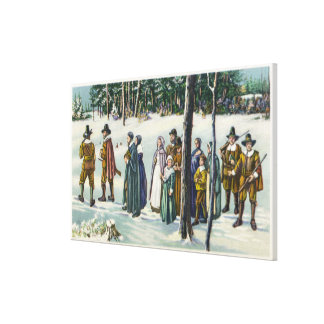 Pilgrims Going to Church in the Snow Scene Canvas Print