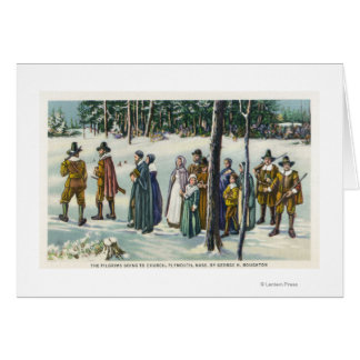 Pilgrims Going to Church in the Snow Scene Card