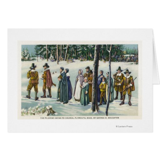 Pilgrims Going to Church in the Snow Scene Cards