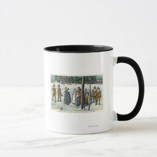 Pilgrims Going to Church in the Snow Scene Mug