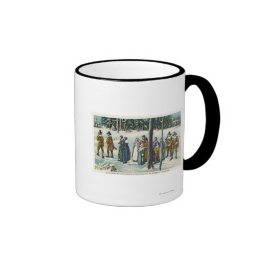 Pilgrims Going to Church in the Snow Scene Coffee Mugs