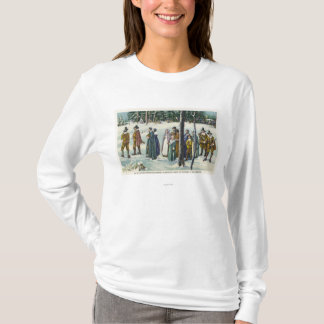 Pilgrims Going to Church in the Snow Scene T-Shirt