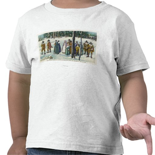 Pilgrims Going to Church in the Snow Scene T-shirts