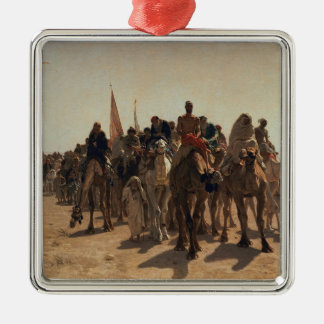 Pilgrims Going to Mecca, 1861 Silver-Colored Square Decoration