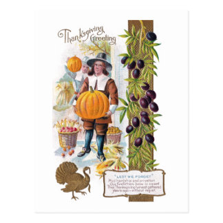 Pilgrims, Plums and Pumpkins Vintage Thanksgiving Post Cards