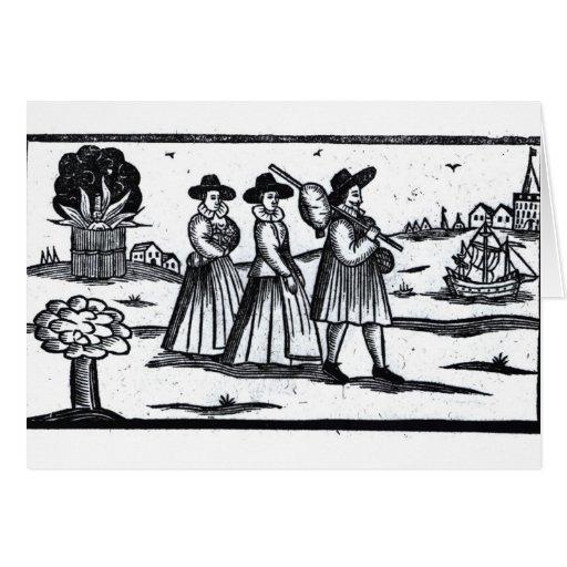 Pilgrims set sail on the Mayflower Greeting Cards