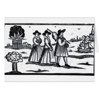 Pilgrims set sail on the Mayflower Greeting Card