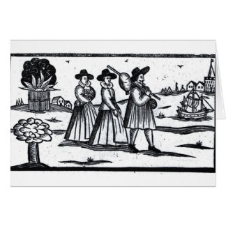 Pilgrims set sail on the Mayflower Greeting Cards