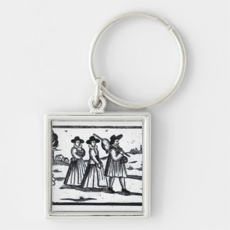 Pilgrims set sail on the Mayflower Silver-Colored Square Key Ring